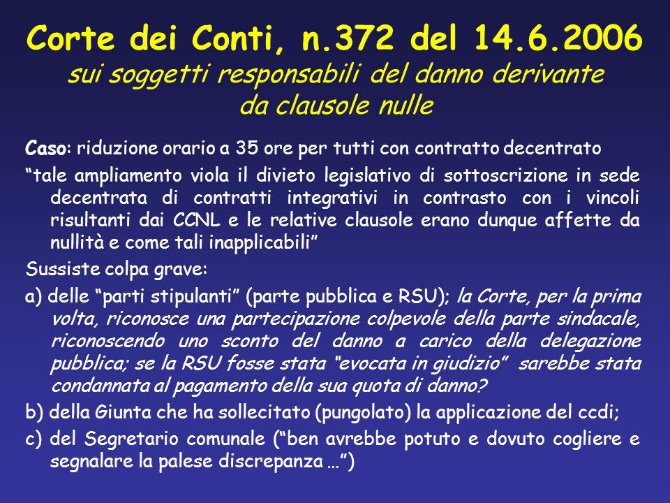 Corte dei Conti, n.372 del 14.6.2006 sui soggetti responsabili del danno derivante da clausole nulle Caso: riduzione orario a 35 ore per tutti con con