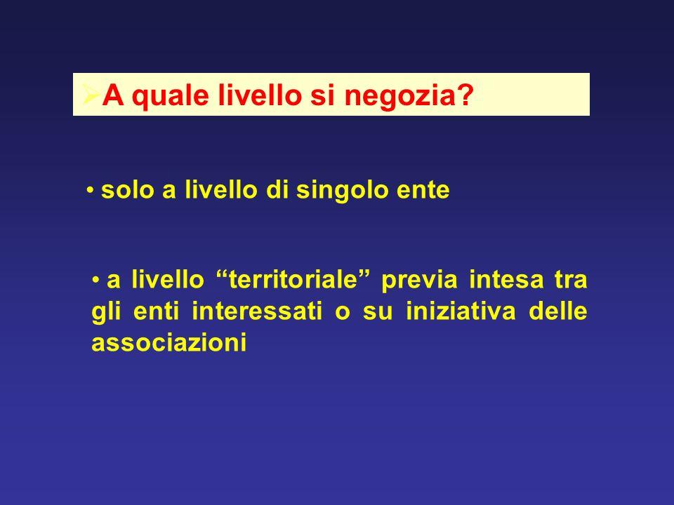 A quale livello si negozia? solo a livello di singolo ente a livello territoriale previa intesa tra gli enti interessati o su iniziativa delle associa