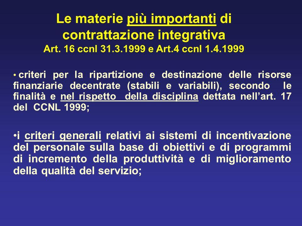 criteri per la ripartizione e destinazione delle risorse finanziarie decentrate (stabili e variabili), secondo le finalità e nel rispetto della discip