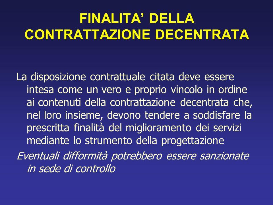 FINALITA DELLA CONTRATTAZIONE DECENTRATA La disposizione contrattuale citata deve essere intesa come un vero e proprio vincolo in ordine ai contenuti