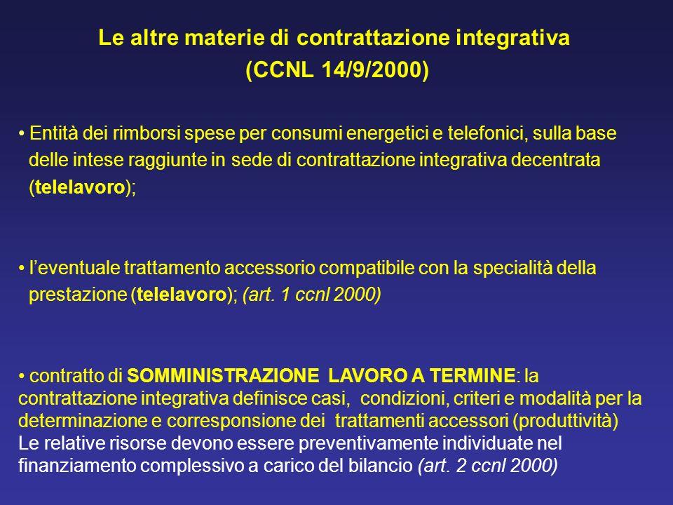Le altre materie di contrattazione integrativa (CCNL 14/9/2000) Entità dei rimborsi spese per consumi energetici e telefonici, sulla base delle intese
