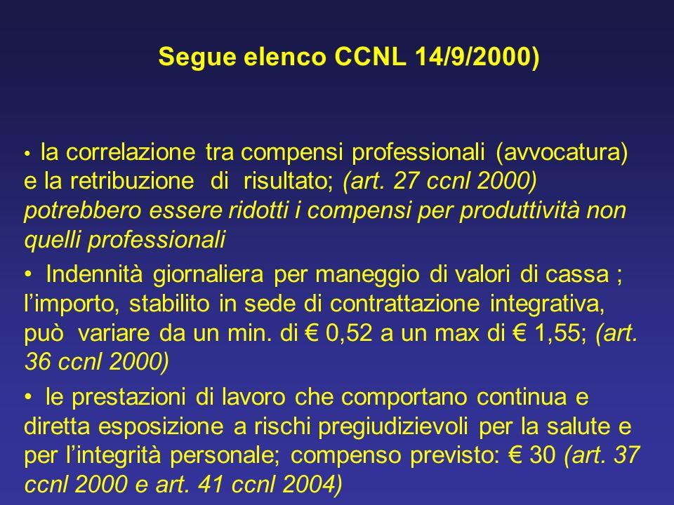 Segue elenco CCNL 14/9/2000) la correlazione tra compensi professionali (avvocatura) e la retribuzione di risultato; (art. 27 ccnl 2000) potrebbero es