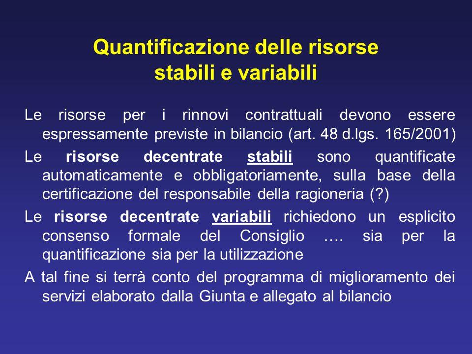 Quantificazione delle risorse stabili e variabili Le risorse per i rinnovi contrattuali devono essere espressamente previste in bilancio (art. 48 d.lg