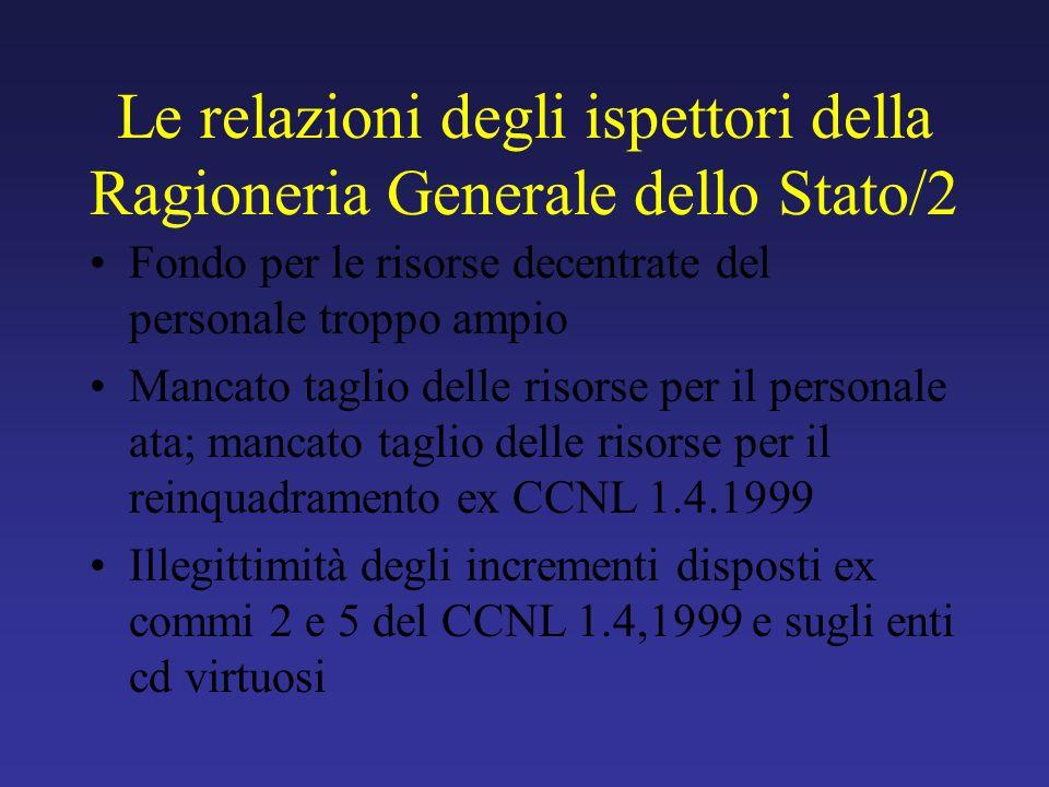 Le relazioni degli ispettori della Ragioneria Generale dello Stato/2 Fondo per le risorse decentrate del personale troppo ampio Mancato taglio delle r