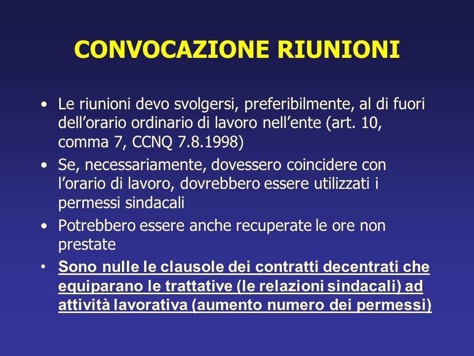 CONVOCAZIONE RIUNIONI Le riunioni devo svolgersi, preferibilmente, al di fuori dellorario ordinario di lavoro nellente (art. 10, comma 7, CCNQ 7.8.199