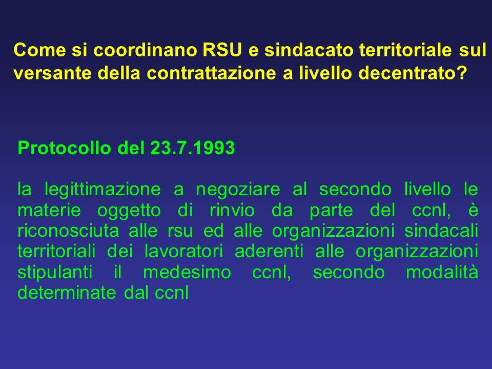 Come si coordinano RSU e sindacato territoriale sul versante della contrattazione a livello decentrato? Protocollo del 23.7.1993 la legittimazione a n
