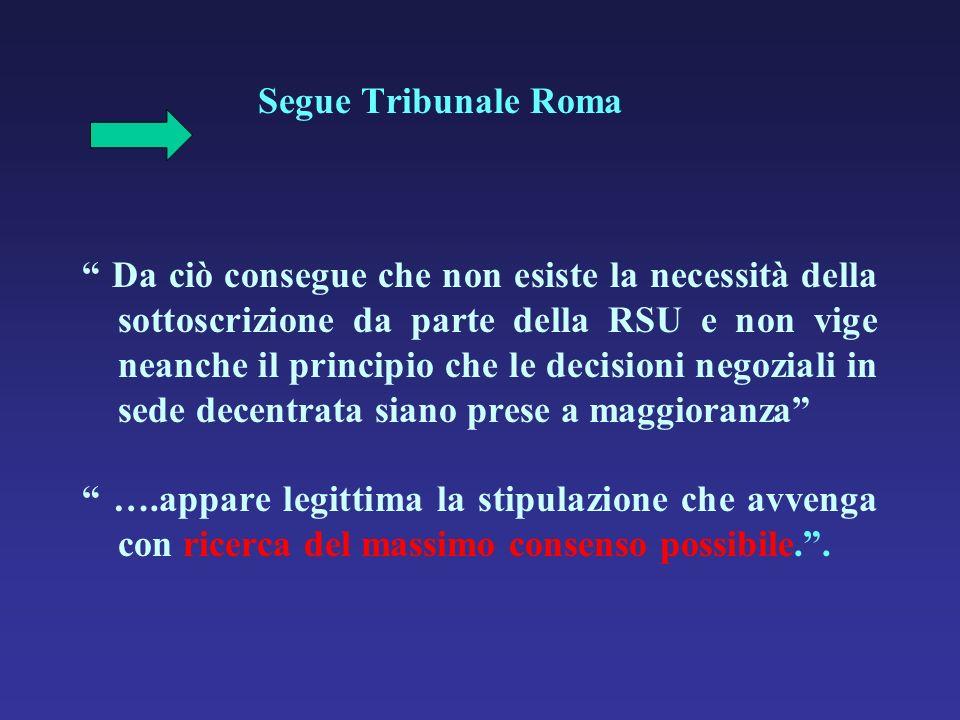 Segue Tribunale Roma Da ciò consegue che non esiste la necessità della sottoscrizione da parte della RSU e non vige neanche il principio che le decisi