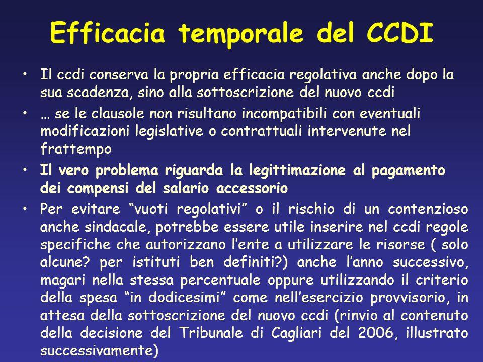 Efficacia temporale del CCDI Il ccdi conserva la propria efficacia regolativa anche dopo la sua scadenza, sino alla sottoscrizione del nuovo ccdi … se