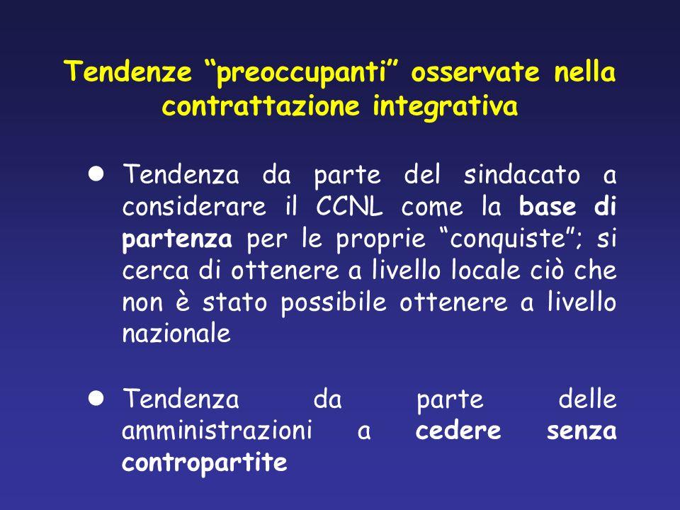 Tendenze preoccupanti osservate nella contrattazione integrativa Tendenza da parte del sindacato a considerare il CCNL come la base di partenza per le