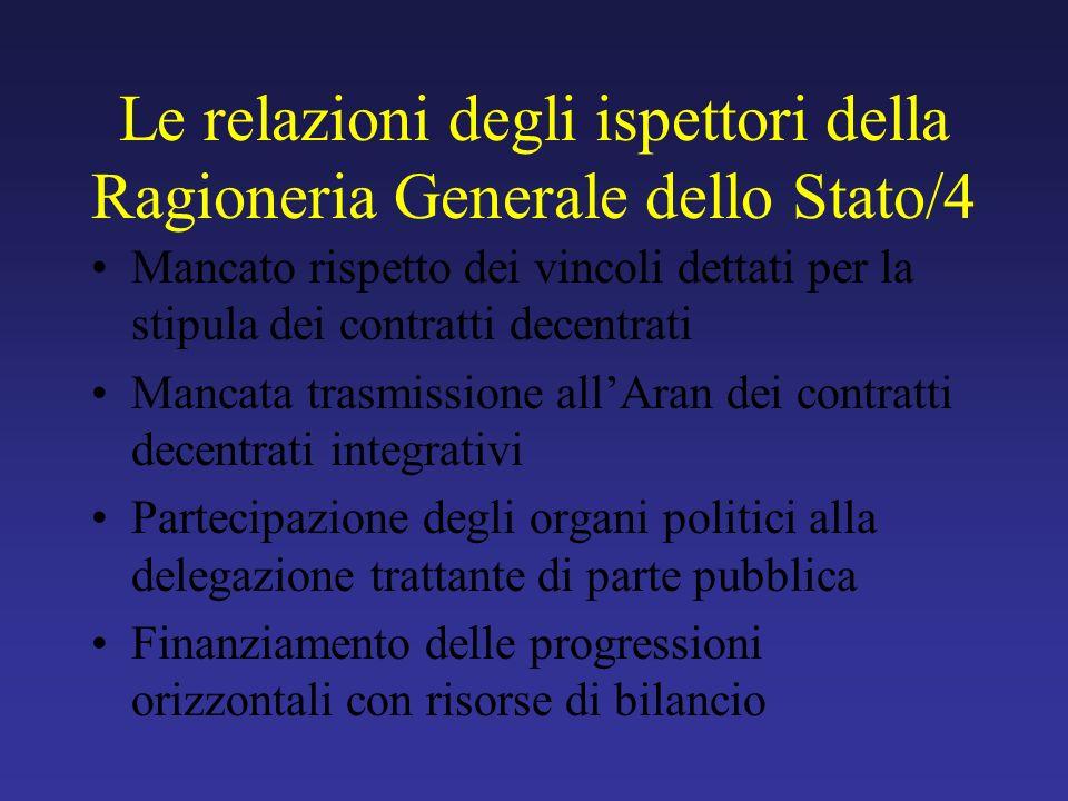 Le relazioni degli ispettori della Ragioneria Generale dello Stato/4 Mancato rispetto dei vincoli dettati per la stipula dei contratti decentrati Manc