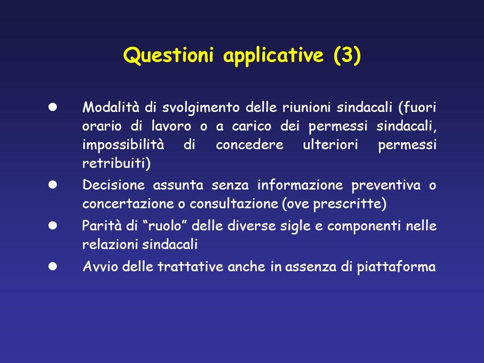 Questioni applicative (3) Modalità di svolgimento delle riunioni sindacali (fuori orario di lavoro o a carico dei permessi sindacali, impossibilità di