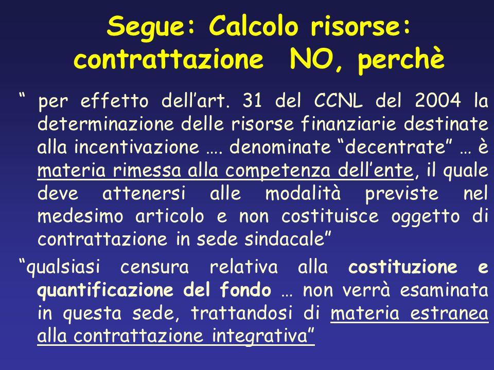 Segue: Calcolo risorse: contrattazione NO, perchè per effetto dellart. 31 del CCNL del 2004 la determinazione delle risorse finanziarie destinate alla