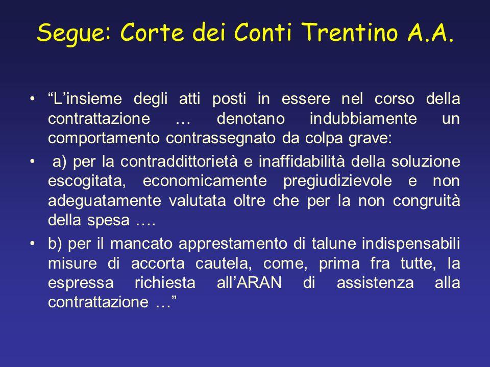 Segue: Corte dei Conti Trentino A.A. Linsieme degli atti posti in essere nel corso della contrattazione … denotano indubbiamente un comportamento cont