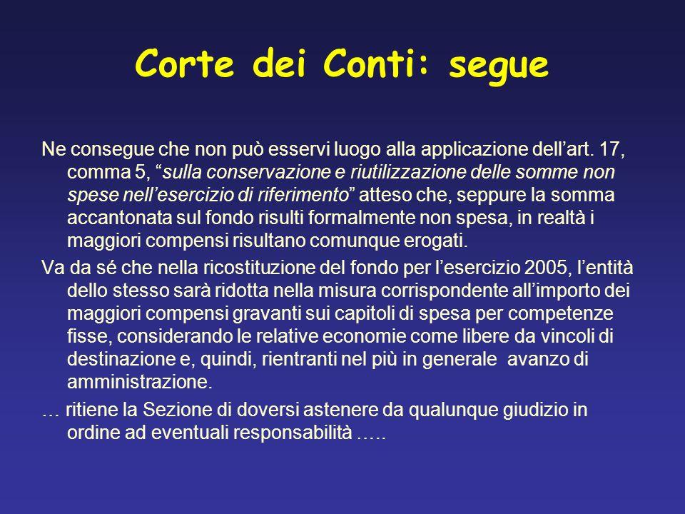 Corte dei Conti: segue Ne consegue che non può esservi luogo alla applicazione dellart. 17, comma 5, sulla conservazione e riutilizzazione delle somme