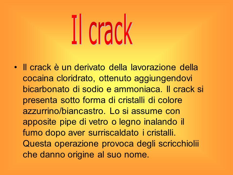 Il crack è un derivato della lavorazione della cocaina cloridrato, ottenuto aggiungendovi bicarbonato di sodio e ammoniaca. Il crack si presenta sotto