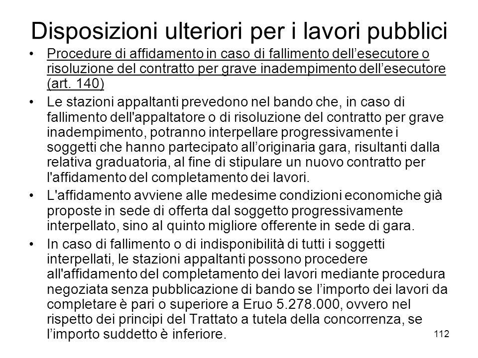 112 Disposizioni ulteriori per i lavori pubblici Procedure di affidamento in caso di fallimento dellesecutore o risoluzione del contratto per grave in