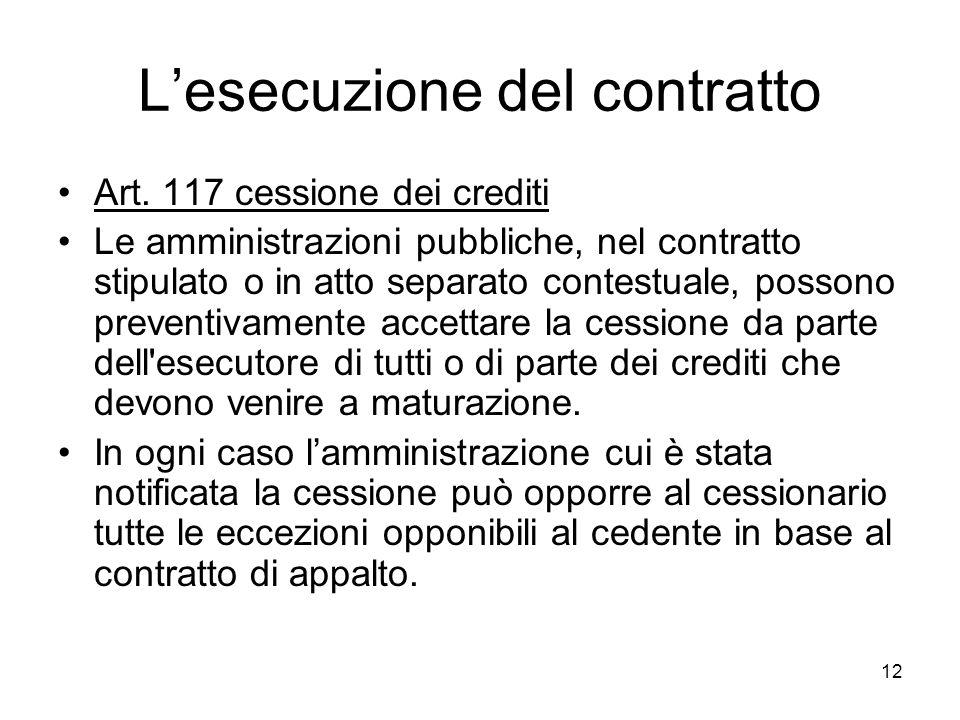 12 Lesecuzione del contratto Art. 117 cessione dei crediti Le amministrazioni pubbliche, nel contratto stipulato o in atto separato contestuale, posso