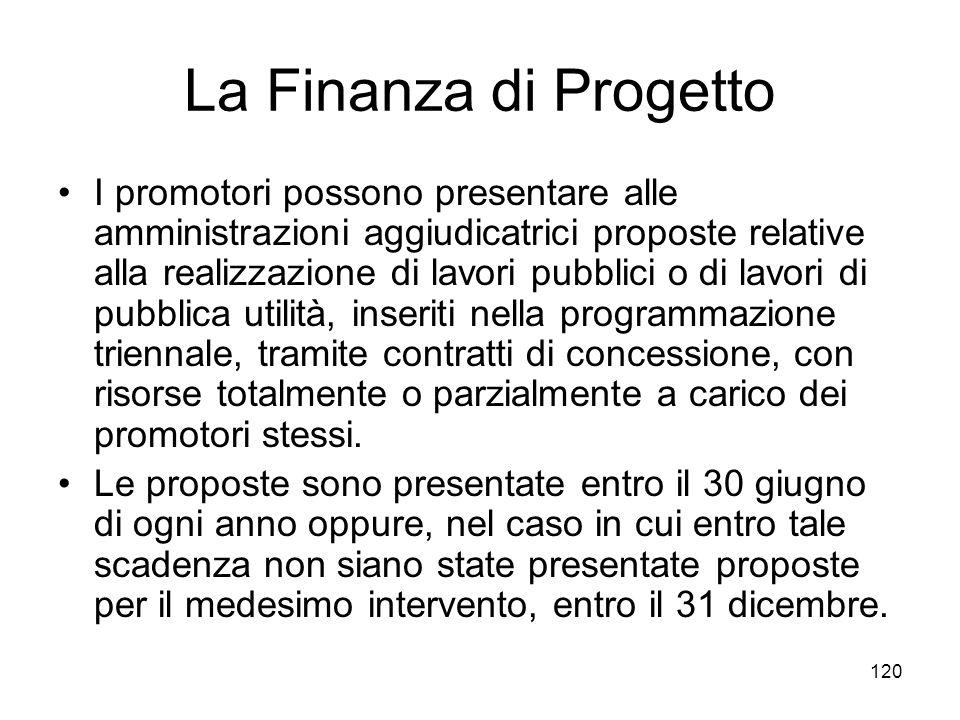 120 La Finanza di Progetto I promotori possono presentare alle amministrazioni aggiudicatrici proposte relative alla realizzazione di lavori pubblici