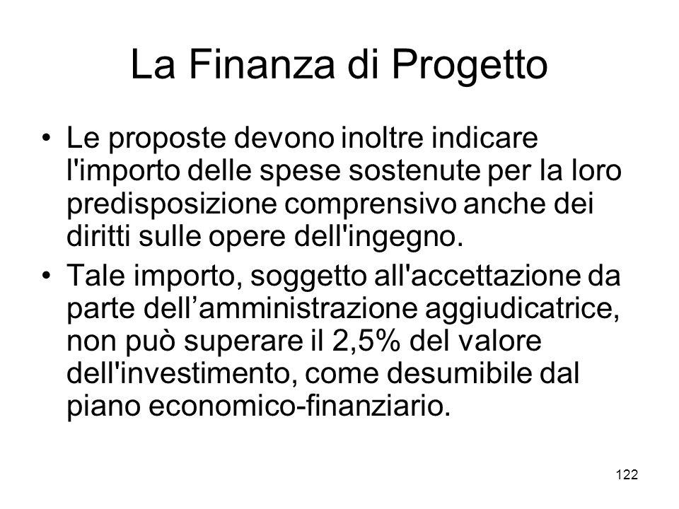 122 La Finanza di Progetto Le proposte devono inoltre indicare l'importo delle spese sostenute per la loro predisposizione comprensivo anche dei dirit