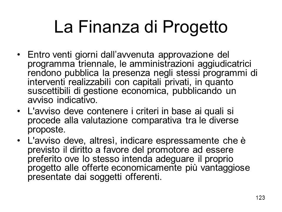 123 La Finanza di Progetto Entro venti giorni dallavvenuta approvazione del programma triennale, le amministrazioni aggiudicatrici rendono pubblica la