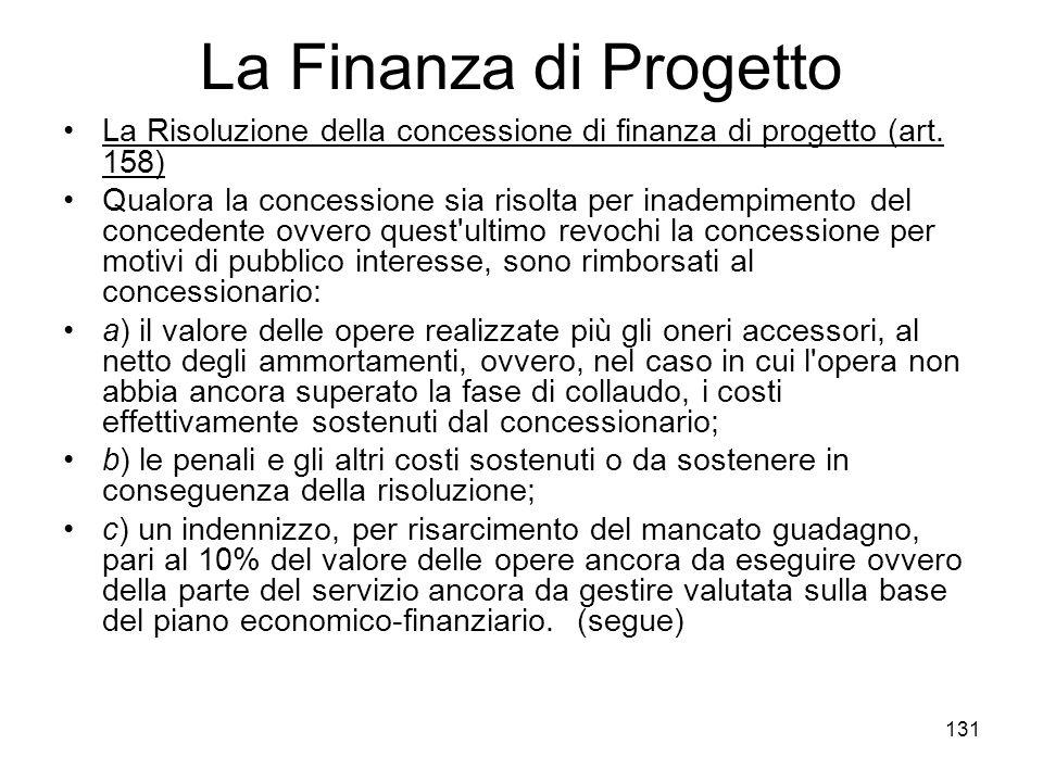 131 La Finanza di Progetto La Risoluzione della concessione di finanza di progetto (art. 158) Qualora la concessione sia risolta per inadempimento del