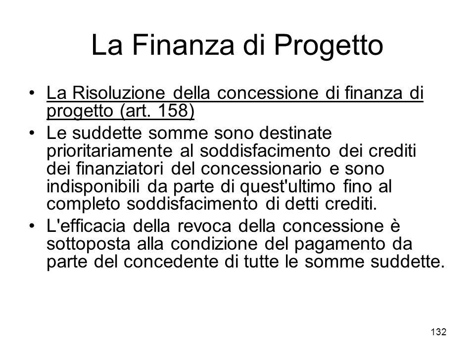 132 La Finanza di Progetto La Risoluzione della concessione di finanza di progetto (art. 158) Le suddette somme sono destinate prioritariamente al sod