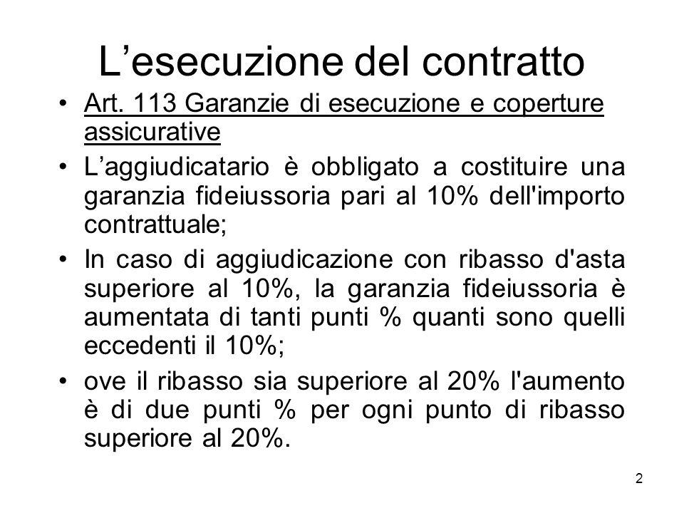 2 Lesecuzione del contratto Art. 113 Garanzie di esecuzione e coperture assicurative Laggiudicatario è obbligato a costituire una garanzia fideiussori