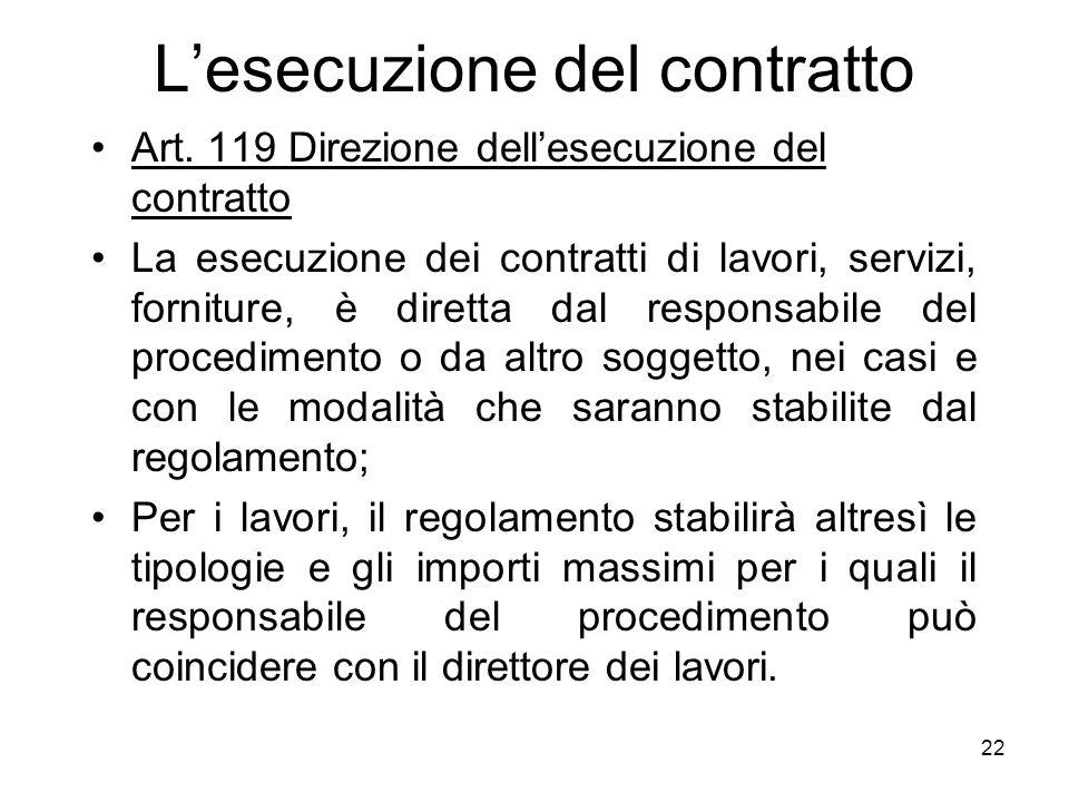 22 Lesecuzione del contratto Art. 119 Direzione dellesecuzione del contratto La esecuzione dei contratti di lavori, servizi, forniture, è diretta dal