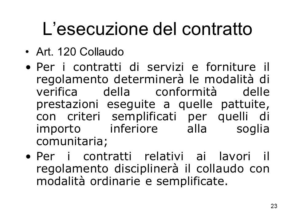 23 Lesecuzione del contratto Art. 120 Collaudo Per i contratti di servizi e forniture il regolamento determinerà le modalità di verifica della conform