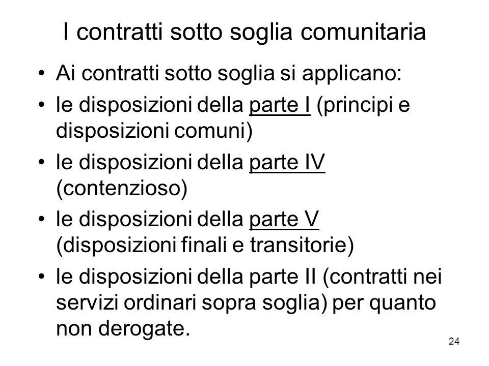 24 I contratti sotto soglia comunitaria Ai contratti sotto soglia si applicano: le disposizioni della parte I (principi e disposizioni comuni) le disp