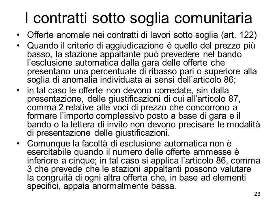 28 I contratti sotto soglia comunitaria Offerte anomale nei contratti di lavori sotto soglia (art. 122) Quando il criterio di aggiudicazione è quello