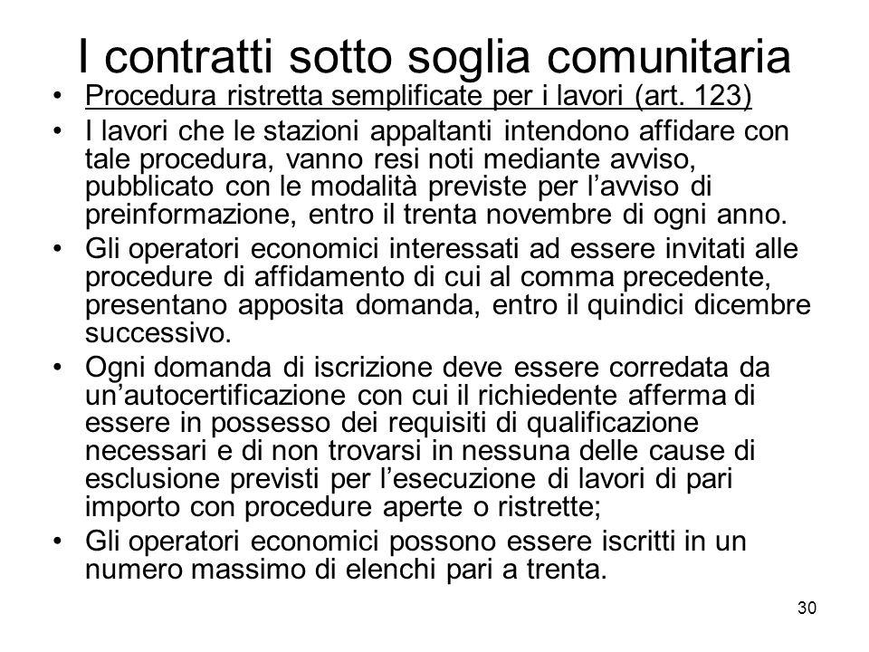 30 I contratti sotto soglia comunitaria Procedura ristretta semplificate per i lavori (art. 123) I lavori che le stazioni appaltanti intendono affidar