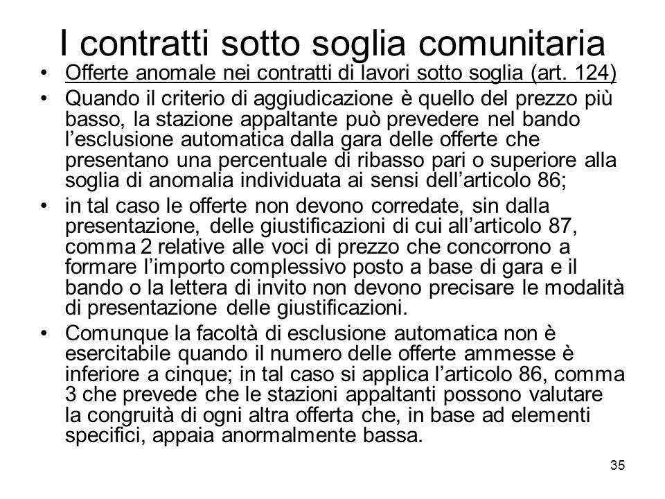 35 I contratti sotto soglia comunitaria Offerte anomale nei contratti di lavori sotto soglia (art. 124) Quando il criterio di aggiudicazione è quello