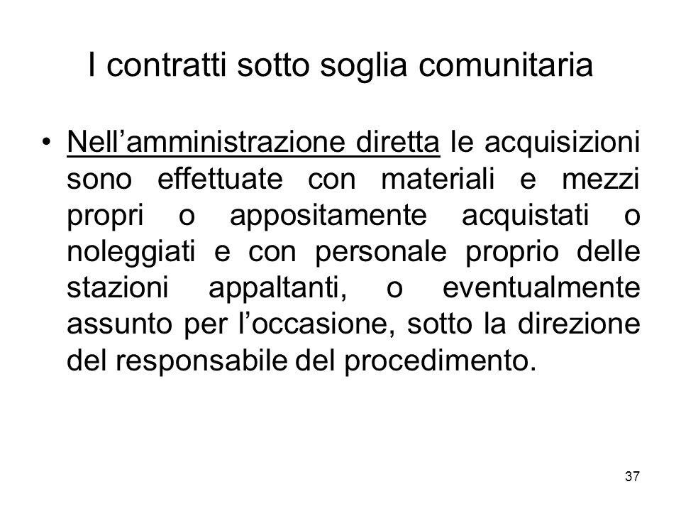 37 I contratti sotto soglia comunitaria Nellamministrazione diretta le acquisizioni sono effettuate con materiali e mezzi propri o appositamente acqui