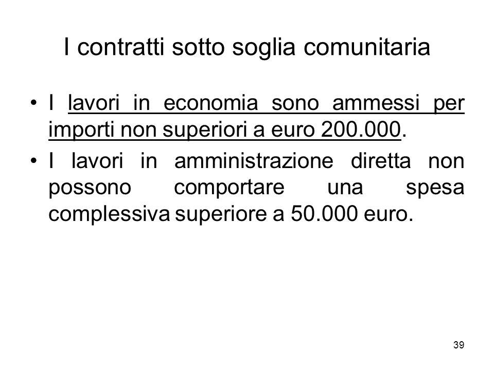 39 I contratti sotto soglia comunitaria I lavori in economia sono ammessi per importi non superiori a euro 200.000. I lavori in amministrazione dirett