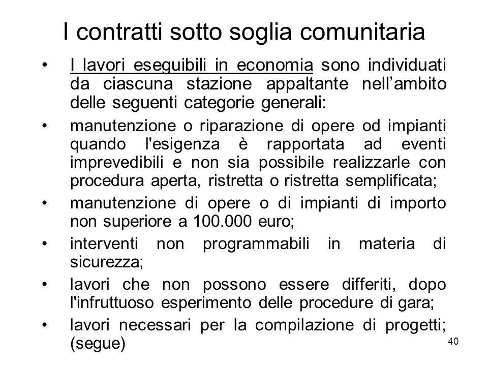 40 I contratti sotto soglia comunitaria I lavori eseguibili in economia sono individuati da ciascuna stazione appaltante nellambito delle seguenti cat