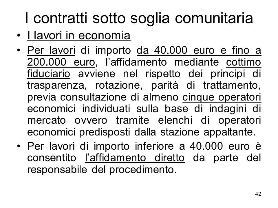 42 I contratti sotto soglia comunitaria I lavori in economia Per lavori di importo da 40.000 euro e fino a 200.000 euro, laffidamento mediante cottimo