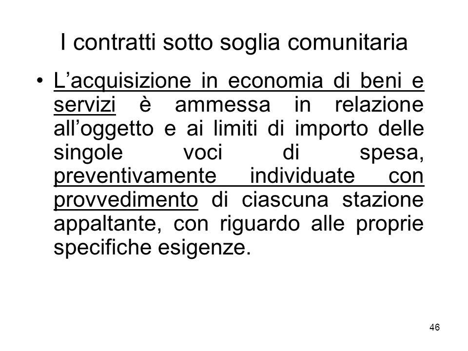 46 I contratti sotto soglia comunitaria Lacquisizione in economia di beni e servizi è ammessa in relazione alloggetto e ai limiti di importo delle sin
