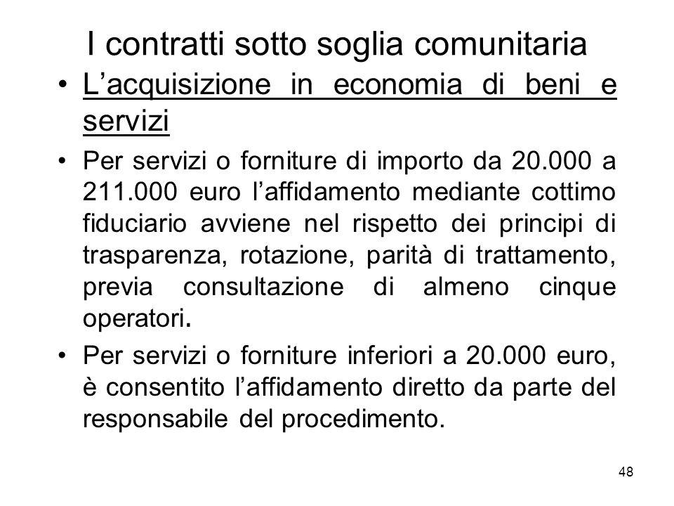 48 I contratti sotto soglia comunitaria Lacquisizione in economia di beni e servizi Per servizi o forniture di importo da 20.000 a 211.000 euro laffid