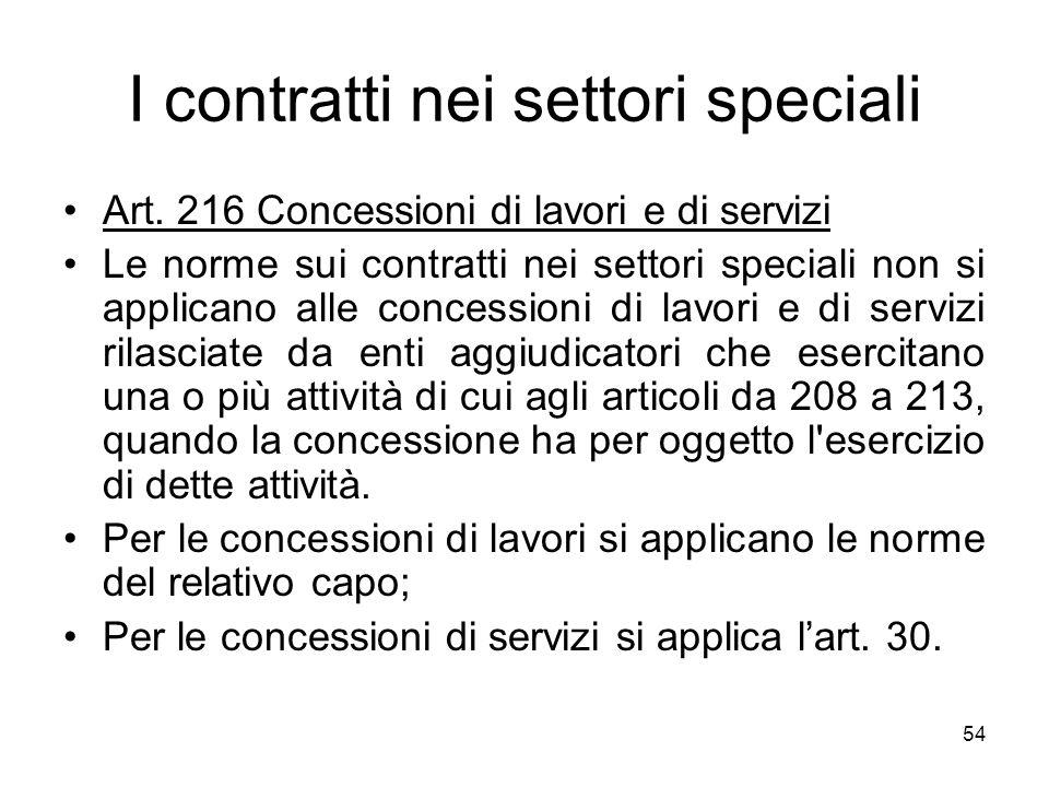 54 I contratti nei settori speciali Art. 216 Concessioni di lavori e di servizi Le norme sui contratti nei settori speciali non si applicano alle conc