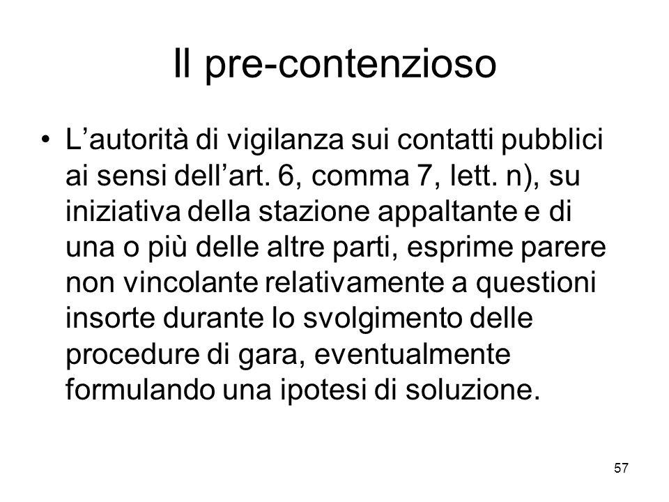 57 Il pre-contenzioso Lautorità di vigilanza sui contatti pubblici ai sensi dellart. 6, comma 7, lett. n), su iniziativa della stazione appaltante e d