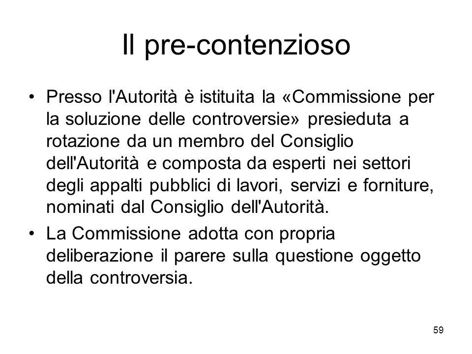 59 Il pre-contenzioso Presso l'Autorità è istituita la «Commissione per la soluzione delle controversie» presieduta a rotazione da un membro del Consi