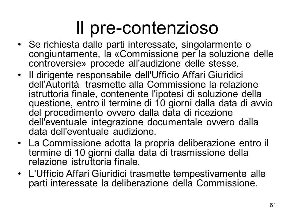 61 Il pre-contenzioso Se richiesta dalle parti interessate, singolarmente o congiuntamente, la «Commissione per la soluzione delle controversie» proce