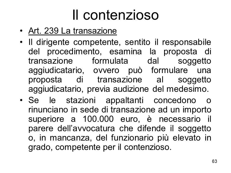 63 Il contenzioso Art. 239 La transazione Il dirigente competente, sentito il responsabile del procedimento, esamina la proposta di transazione formul