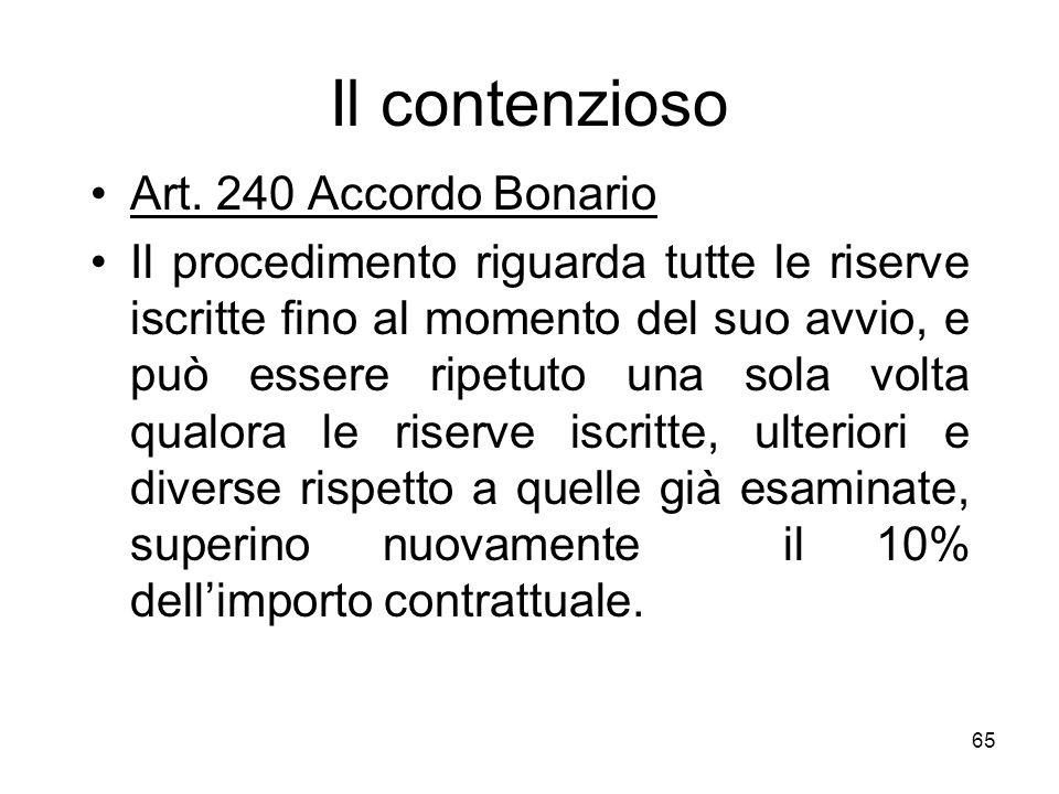 65 Il contenzioso Art. 240 Accordo Bonario Il procedimento riguarda tutte le riserve iscritte fino al momento del suo avvio, e può essere ripetuto una