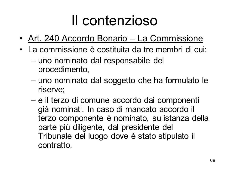 68 Il contenzioso Art. 240 Accordo Bonario – La Commissione La commissione è costituita da tre membri di cui: –uno nominato dal responsabile del proce