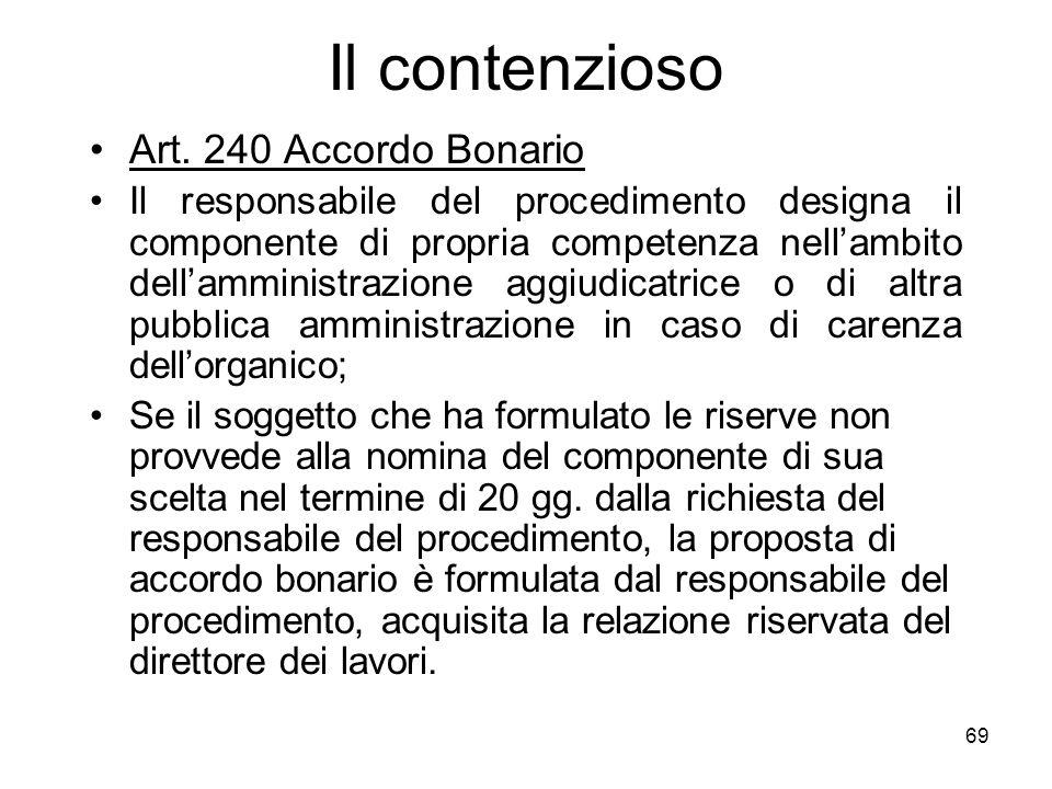 69 Il contenzioso Art. 240 Accordo Bonario Il responsabile del procedimento designa il componente di propria competenza nellambito dellamministrazione