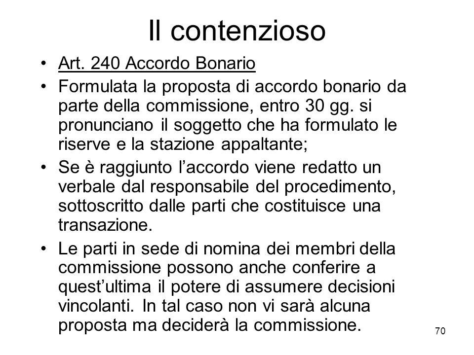 70 Il contenzioso Art. 240 Accordo Bonario Formulata la proposta di accordo bonario da parte della commissione, entro 30 gg. si pronunciano il soggett