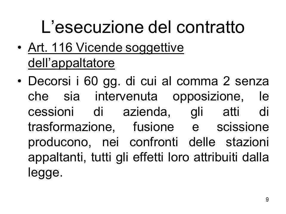 9 Lesecuzione del contratto Art. 116 Vicende soggettive dellappaltatore Decorsi i 60 gg. di cui al comma 2 senza che sia intervenuta opposizione, le c