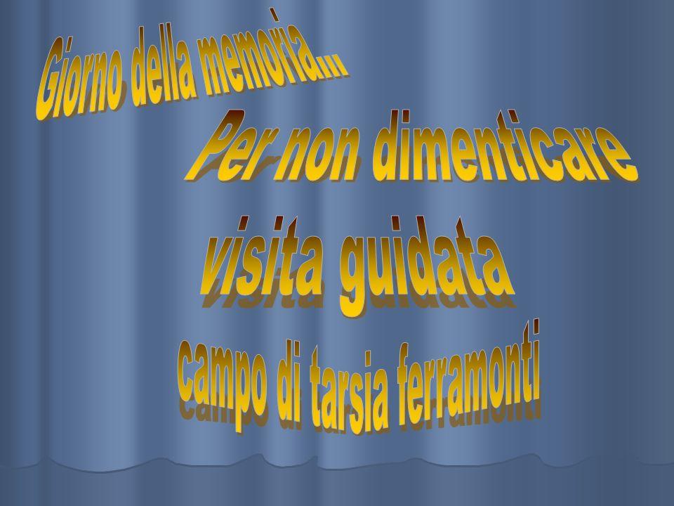 Tarsia Ferramonti MUSEO DELLA MEMORIA Il campo di concentramento di Tarsia Ferramonti (CS) fu costruito ad hoc nel 1940, a differenza di altri campi di concentramento italiani, ma, nellaspetto esteriore, ricordava chiaramente un lager nazista, fatto comera da lunghi capannoni e posto nellimmediata vicinanza della linea ferroviaria Sibari - Cosenza.